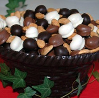 Large Chocolate Basket Filled with Hand-Dipped Jumbo Cashews