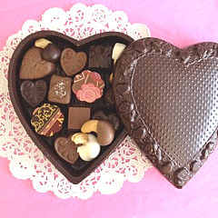 Edible Chocolate Heart Box filled with rich chocolate truffles, hearts, caramels, chocolate dipped cashews and more